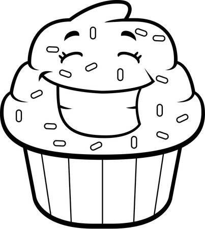 A cartoon cupcake with sprinkles smiling and happy.