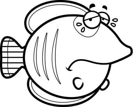 A cartoon illustration of a butterflyfish sad and crying.