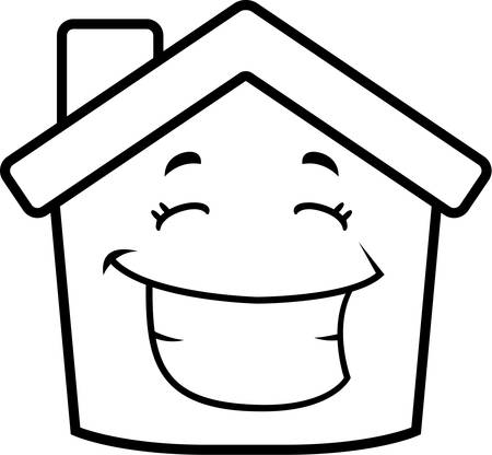 A cartoon little house smiling and happy. Stock fotó - 43374703