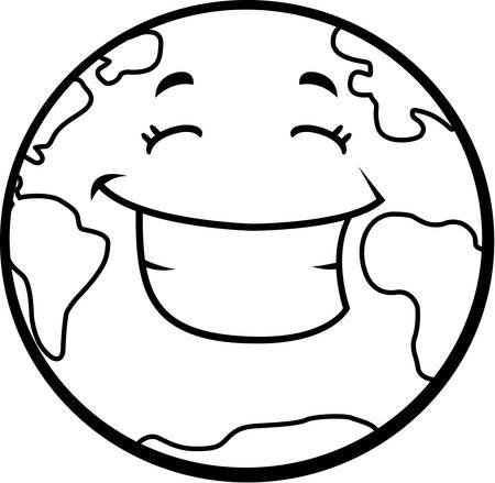 happy planet earth: Un planeta Tierra de dibujos animados feliz y sonriente.