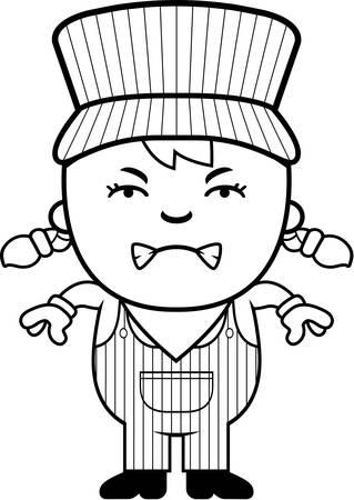 Eine Karikatur Illustration eines Mädchens Zugführer suchen wütend. Standard-Bild - 43813185