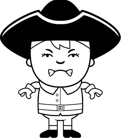 colonial: A cartoon illustration of a colonial boy with an angry expression.