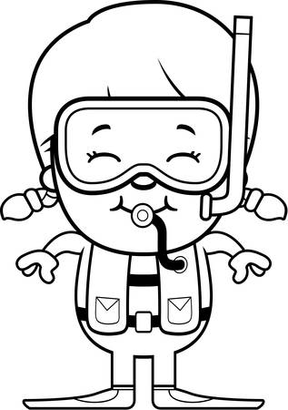 A cartoon illustration of a scuba diver girl standing and smiling. 向量圖像