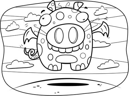 A cartoon creativity monster floating in the air.
