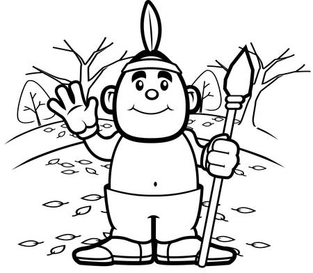 A happy cartoon Native American waving and smiling.