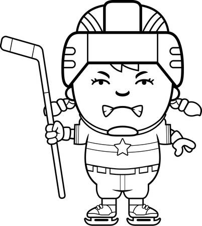 A cartoon illustration of a child hockey player looking angry. Illustration