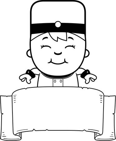 bellhop: A cartoon illustration of a child bellhop with a banner.
