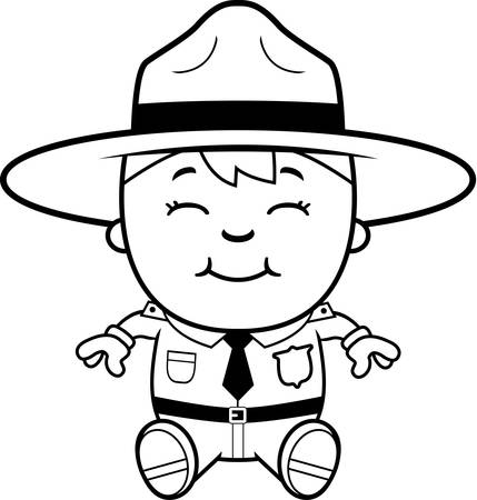 adolescent: A cartoon illustration of a boy park ranger sitting and smiling. Illustration