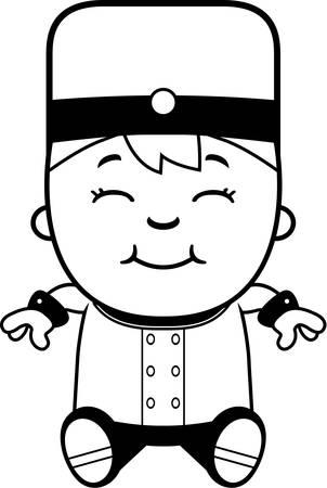 bellhop: Una ilustraci�n de dibujos animados de una sesi�n botones ni�o.