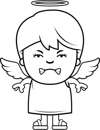 angry angel: A cartoon illustration of a angel boy with an angry expression. Illustration