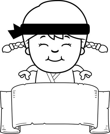 gi: A cartoon illustration of a karate kid with a banner. Illustration