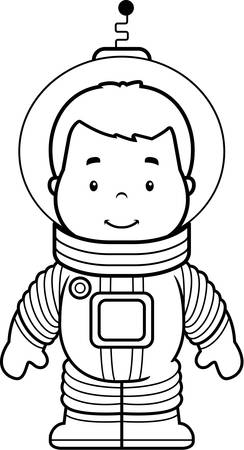 A cartoon boy astronaut in a spacesuit.