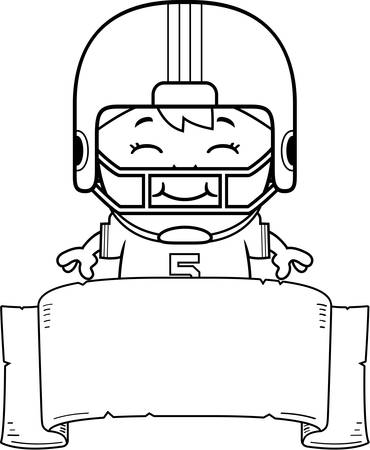 pee pee: A cartoon illustration of a pee wee football player with a banner.
