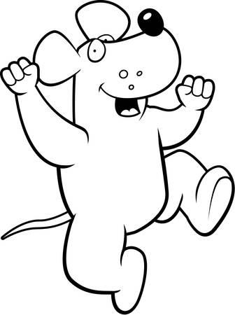 hurray: A happy cartoon rat jumping and smiling.