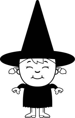 立っていると笑顔は、幸せな漫画子供魔女。