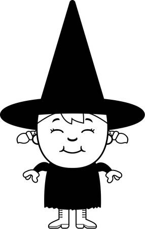 adolescent: A happy cartoon kid witch standing and smiling.