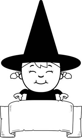 A cartoon illustration of a girl witch with a banner.