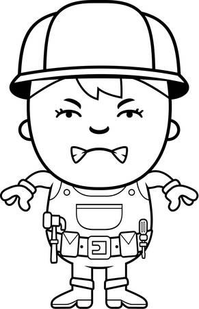 brat: A cartoon illustration of a construction worker boy with an angry expression.