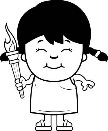 toga: A cartoon illustration of a Greek girl holding the sports competition torch. Illustration