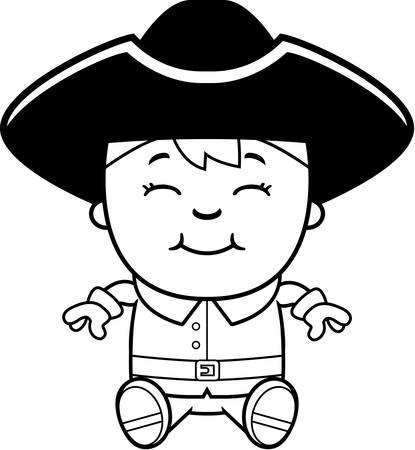 A cartoon illustration of a colonial boy sitting and smiling.