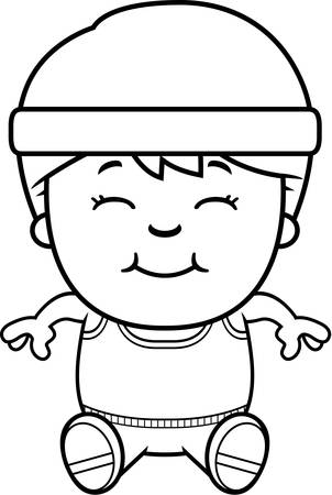 child sitting: A cartoon illustration of an exercising child sitting. Illustration