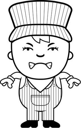 Eine Karikatur Illustration eines Jungen Zugführer suchen wütend. Standard-Bild - 43813344