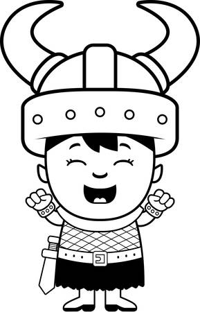 celebrating: A cartoon illustration of an orc child celebrating. Illustration
