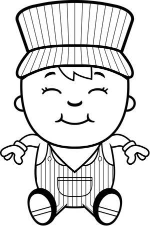 Eine Karikatur Illustration eines Jungen Lokführer sitzt und lächelnd. Standard-Bild - 43813351