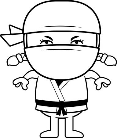 A cartoon illustration of a little ninja looking angry. Ilustração