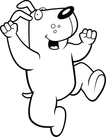 hurray: A happy cartoon dog jumping and smiling.