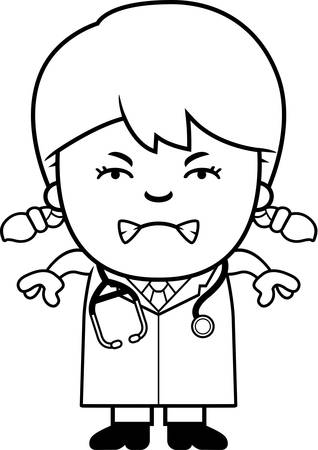 A cartoon illustration of a child doctor looking angry.