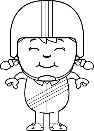 A cartoon illustration of a little daredevil smiling.