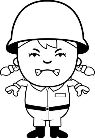 army girl: A cartoon illustration of an army soldier girl looking angry.