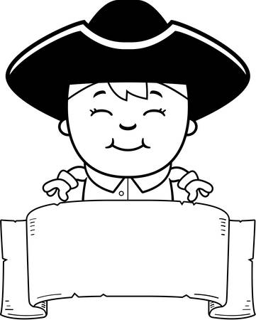 colonial: A cartoon illustration of a colonial boy with a banner.