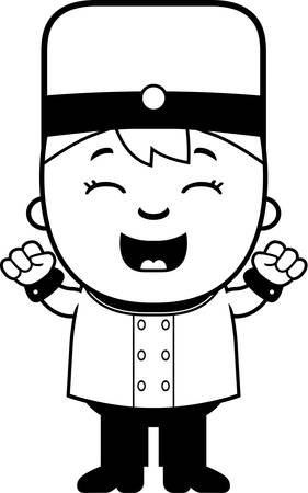 bellhop: A cartoon illustration of a child bellhop celebrating.