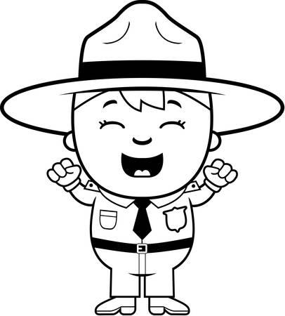 ranger: A cartoon illustration of a boy park ranger looking excited. Illustration