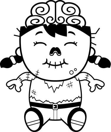 little girls: A cartoon illustration of a little zombie sitting.