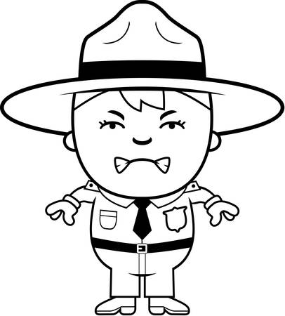 ranger: A cartoon illustration of a boy park ranger looking angry.