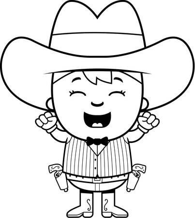 gunfighter: A cartoon illustration of a little gunfighter celebrating. Illustration
