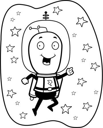 spacesuit: A happy cartoon alien with a jet pack and spacesuit.