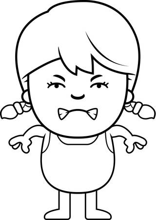 brat: A cartoon illustration of a girl in a swimsuit looking angry.