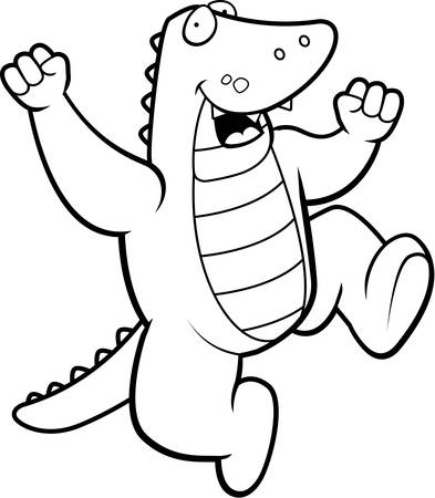 gator: A happy cartoon alligator jumping and smiling.