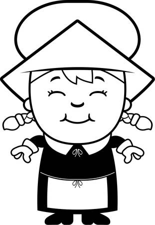 dutch girl: A cartoon illustration of a girl pilgrim standing and smiling.