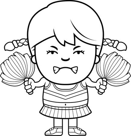 A cartoon illustration of a little cheerleader looking angry.