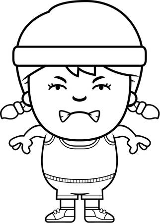 A cartoon illustration of an exercising child looking angry. Ilustração