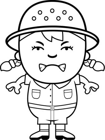 angry teenager: A cartoon illustration of a girl explorer looking angry. Illustration