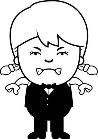angry teenager: A cartoon illustration of a little waiter looking angry.