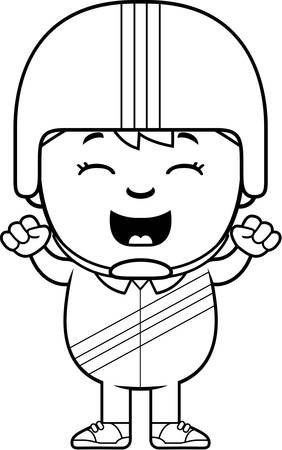 daredevil: A cartoon illustration of a little daredevil celebrating.