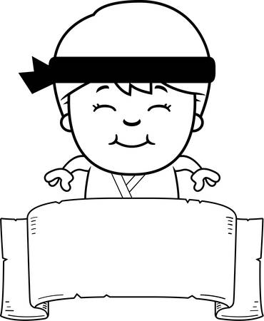 A cartoon illustration of a karate kid with a banner. Illustration