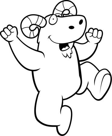 A happy cartoon ram jumping and smiling.